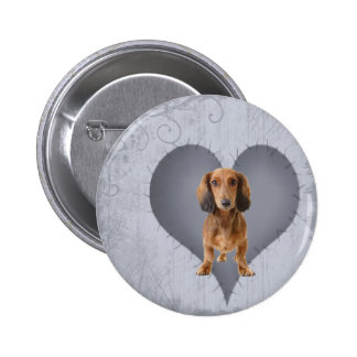 Heart Dachshund Pinback Button