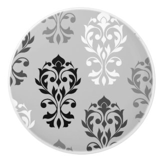 Heart Damask Art I Black Greys White Ceramic Knob