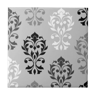 Heart Damask Art I Black Greys White Small Square Tile