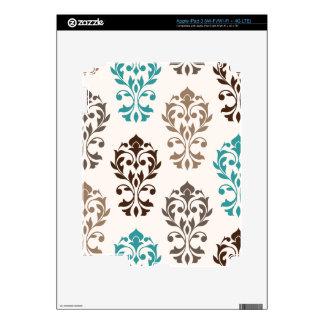 Heart Damask Art I Browns Teal Cream iPad 3 Decal