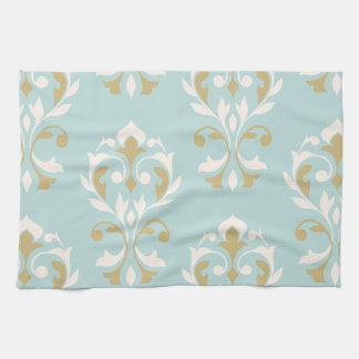 Heart Damask Art I Cream & Gold on Blue Towels