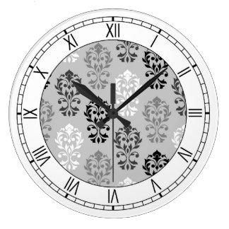 Heart Damask Art I Ptn BGW & Numerals Large Clock