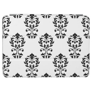 Heart Damask Big Ptn Black on White iPad Air Cover