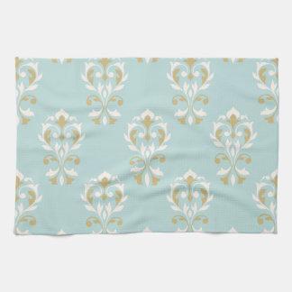 Heart Damask Big Ptn Cream & Gold on Blue Hand Towels