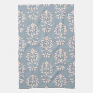 Heart Damask II (V) Ptn Pink on Blue Tea Towels