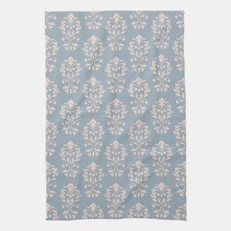 Heart Damask II (V) Rpt Ptn Pink on Blue Tea Towel