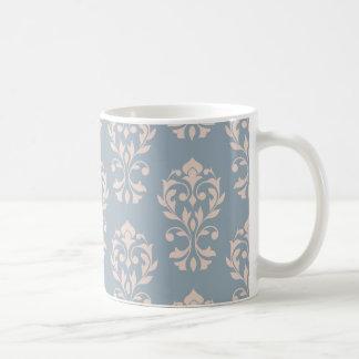 Heart Damask Lg Ptn II Pink on Blue Coffee Mug