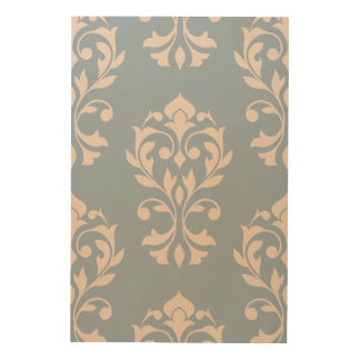 Heart Damask Lg Ptn II Pink on Blue Wood Print
