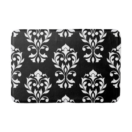 Heart damask lg ptn ii white on black bath mats zazzle for Black and white damask bath mat
