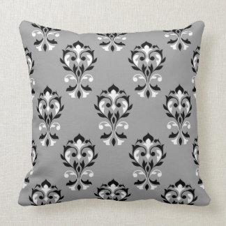 Heart Damask Ptn Black & White on Grey Throw Pillow