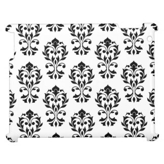 Heart Damask Ptn II Black on White Cover For The iPad