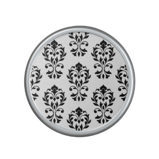 Heart Damask Ptn II Black on White Speaker
