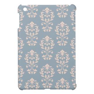 Heart Damask Ptn II Pink on Blue iPad Mini Covers