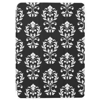 Heart Damask Ptn II White on Black iPad Air Cover