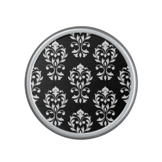 Heart Damask Ptn II White on Black Speaker