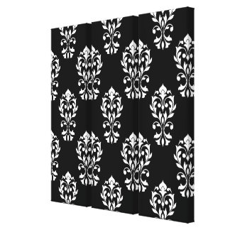 Heart Damask Ptn White on Black Canvas Print