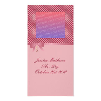 Heart Dangle Pink Stripes And Dots Photo Greeting Card