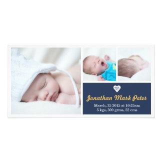Heart Dark Blue & Yellow Birth Announcement Customised Photo Card