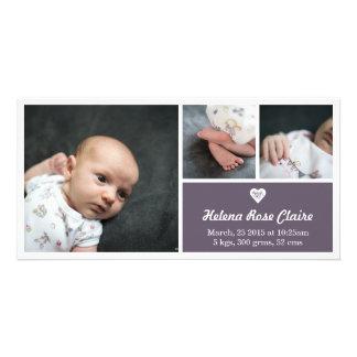 Heart Dark Purple Birth Announcement Photo Card