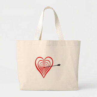 Heart Dartscheibe with arrow Large Tote Bag