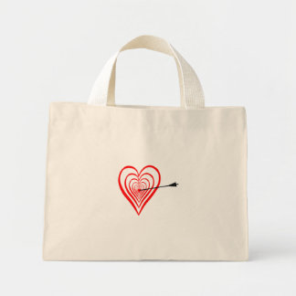 Heart Dartscheibe with arrow Mini Tote Bag