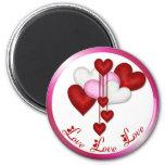 Heart Decor 6 Cm Round Magnet