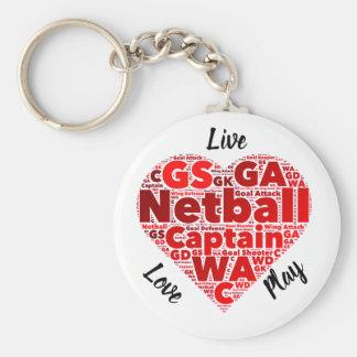 Heart Design Inspirational Netball Captain Key Ring