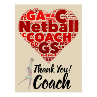 Heart Design Netball Coach Thank You Postcard