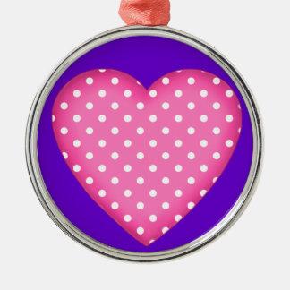 heart design Silver-Colored round decoration