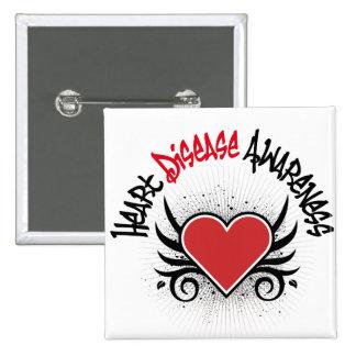 Heart Disease Awareness Grunge 15 Cm Square Badge