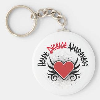 Heart Disease Awareness Grunge Basic Round Button Key Ring
