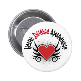 Heart Disease Awareness Grunge Buttons
