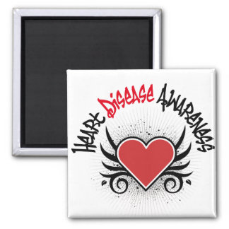 Heart Disease Awareness Grunge Square Magnet