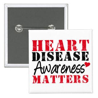 Heart Disease Awareness Matters Pinback Buttons