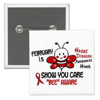 Heart Disease Awareness Month Bee 1.1 Pins