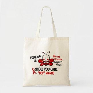 Heart Disease Awareness Month Bee 1.1 Budget Tote Bag