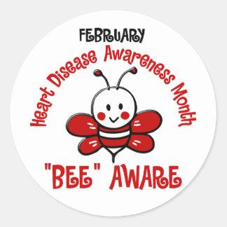 Heart Disease Awareness Month Bee 1.2 Round Sticker