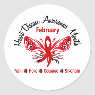 Heart Disease Awareness Month Butterfly 3.2 Round Stickers
