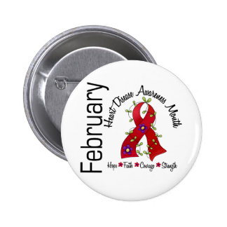 Heart Disease Awareness Month Flower Ribbon 1 Pinback Buttons