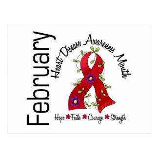 Heart Disease Awareness Month Flower Ribbon 1 Postcard
