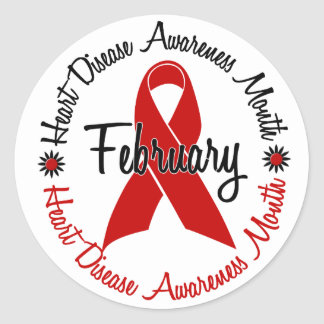 Heart Disease Awareness Month Red Ribbon 1.3 Round Sticker