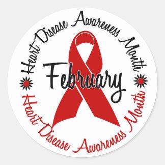 Heart Disease Awareness Month Red Ribbon 1.3 Sticker