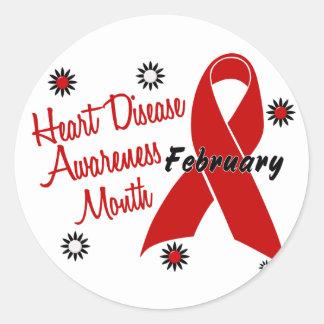 Heart Disease Awareness Month Ribbon 1.1 Round Sticker