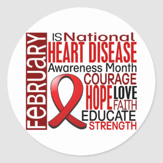 Heart Disease Awareness Month Ribbon I2.3 Round Sticker