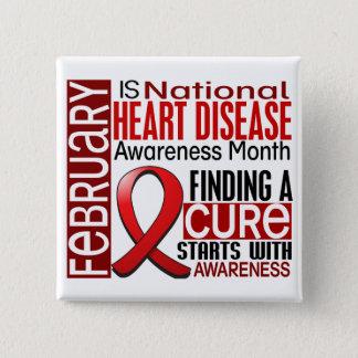 Heart Disease Awareness Month Ribbon I2.5 15 Cm Square Badge