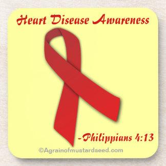 Heart Disease Awareness Phil 4:13 Beverage Coaster