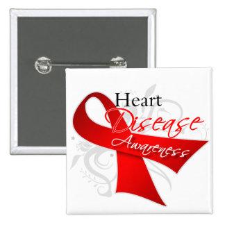 Heart Disease Awareness Ribbon Pinback Buttons