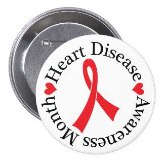 Heart Disease Awareness Ribbon Button
