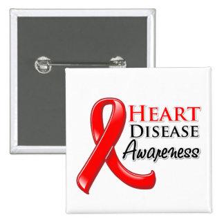 Heart Disease Awareness Ribbon Pinback Button
