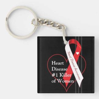 Heart Disease Awareness Single-Sided Square Acrylic Key Ring